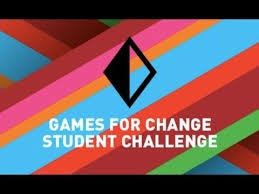 """Colorful abstract background with the Games for Change logo in black and white lettering that reads """"Games for Change Student Challenge."""""""