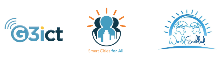 From left to right logos read: G3ict, Smart Cities for All,  World Enabled