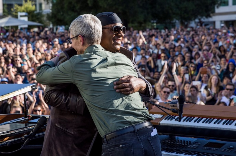 Apple CEO Tim Cook hugs Stevie Wonder following a performance to celebrate Global Accessibility Awareness Day (Photo from 9to5mac.com)