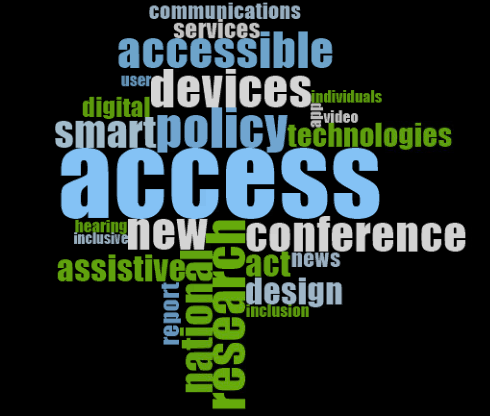 Word cloud showing the top 25 topics of 2019 with the size of the word indicating more instances if it appearing in the newsletter. In descending order they are: Access Policy Conference Research Devices Accessible National New Smart Assistive Design Act Technologies Digital Communications Services Report Inclusive News  Hearing Inclusion User  Individuals App Video